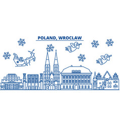 Poland wroclaw winter city skyline merry vector
