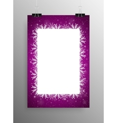 Poster Frame Falling Snow Purple Background vector image