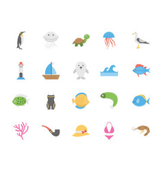 Sea life and ocean icons set vector