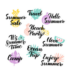 Summer time hand drawn quotes vector