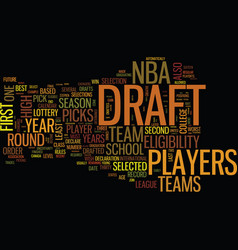 The nba draft text background word cloud concept vector