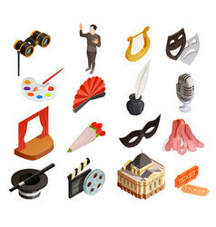 theatre elements icon set vector image vector image