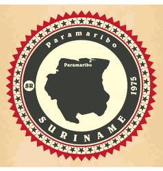 Vintage label-sticker cards of Suriname vector image vector image