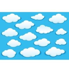 White fluffy cloud icons on blue sky vector
