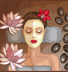 Woman getting spa treatment moisturizing mask vector
