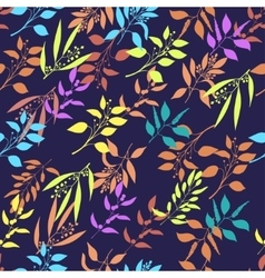 Seamless pattern with colorful twigs silhouette vector