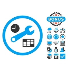 Date and time setup flat icon with bonus vector