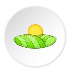 Field and sun icon cartoon style vector