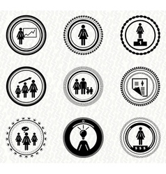 Set of vintage retro badges business woman vector