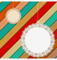 Lace frame on colorful wooden background  eps8 vector