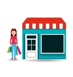 Girl standing store shopping gift buying vector