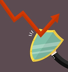 Businesman is protected by a shield from graph vector
