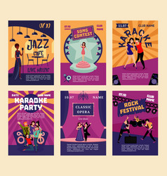 Music entertainment and karaoke posters vector