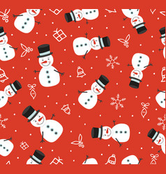 Merry christmas cute snowman seamless pattern vector
