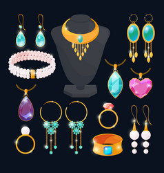 luxury accessories for jewelry rings of gold vector image