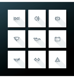 Flat car dashboard icon set vector