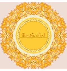 Yellow round decorative flower frame vector
