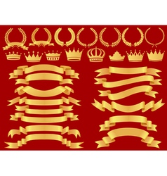 Gold bannerlaurel wreath and crown set vector