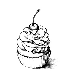 Hand drawn cupcake for coloring book vector