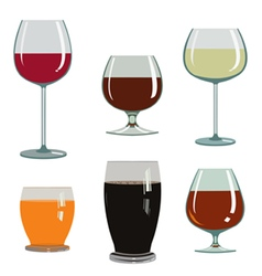 Set of drinks in glasses vector