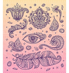 Set of Ornamental Boho Style elements on the vector image