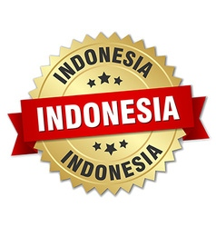 Indonesia round golden badge with red ribbon vector