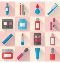 Flat makeup and cosmetics icons set vector
