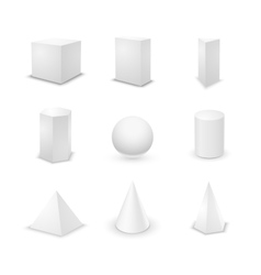 Set of basic elementary geometric shapes blank 3d vector