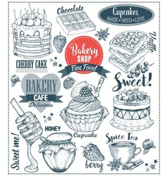 Hand drawn dessert set vector