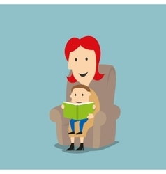 Mother and son reading book in armchair vector image