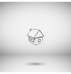 Flat paper cut style icon of house model vector