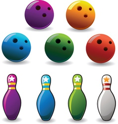 Set of colored bowling and pin vector
