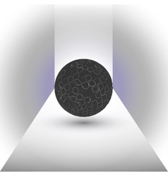 abstract black sphere on a blue background vector image