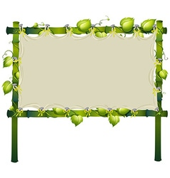 Bamboo sign with vine around frame vector