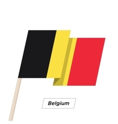 Belgium ribbon waving flag isolated on white vector
