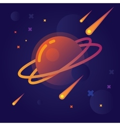 Bright planet in space vector