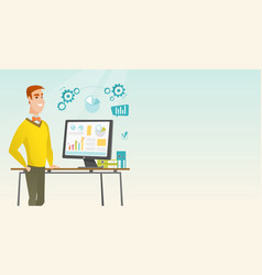 businessman making presentation on computer vector image