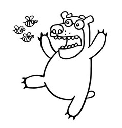 Cartoon bear was afraid of angry bees vector