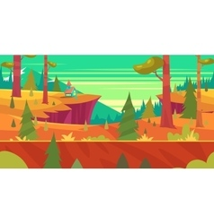 Cartoon nature seamless landscape with forest vector