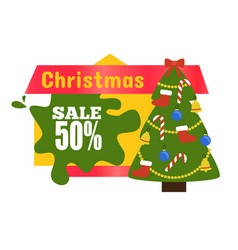 christmas sale 50 sticker vector image vector image