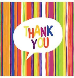 Colorful card thank speech bubble vector