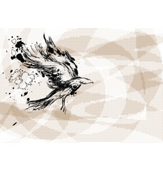 crow on abstract background vector image