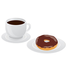 Cup coffee donut vector