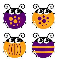 Cute colorful beetle collection isolated on white vector image vector image