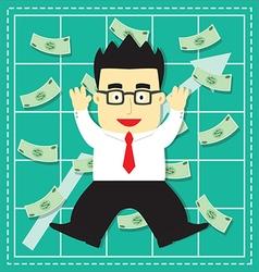 Cute Stock Market Investor Flat Cartoon vector image vector image