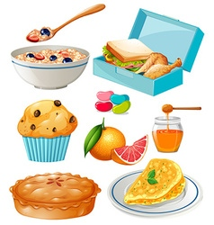 Different kind of food and dessert vector