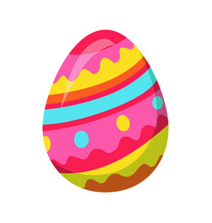easter egg with zigzag colorful lines vector image vector image