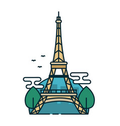 eiffel tower in paris trees modern vector image vector image