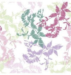 Embroidery leaves on white background vector image