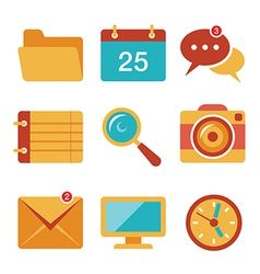 Flat icons set 3 vector image